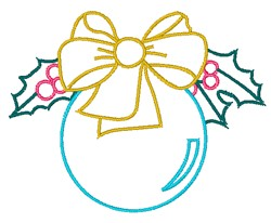 Christmas Ornament & Holly Outline embroidery design