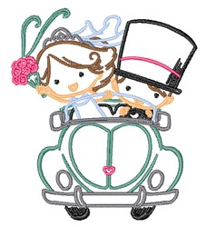 Newlyweds Outline embroidery design