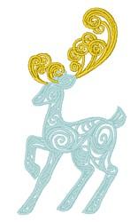 Swirly Reindeer embroidery design