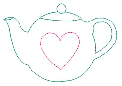 Tea Pot Outline embroidery design