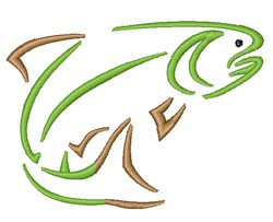Trout Outline embroidery design