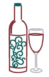 Wine Glass & Bottle embroidery design