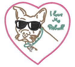 Love My Pitbull embroidery design