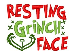 Grinch Face embroidery design