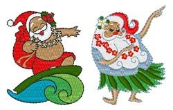 Hula Santa embroidery design