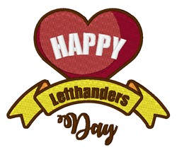 Happy Left Handers Day embroidery design