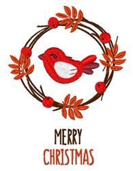 Merry Christmas Bird embroidery design