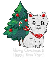 Westie Christmas embroidery design