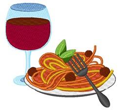 Spaghetti & Wine embroidery design