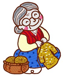 Knitting Lady embroidery design