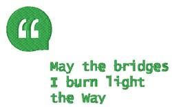 Bridges I Burn embroidery design