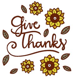 Give Thanks Flowers embroidery design