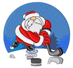 Hockey Santa embroidery design