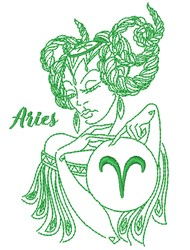 Aries Lady embroidery design