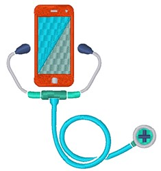 Cell Phone Stethoscope embroidery design