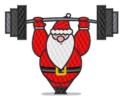 Santa Weightlifter embroidery design