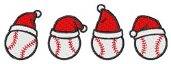 Holiday Baseballs embroidery design