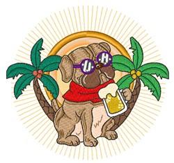 Summer Bulldog embroidery design