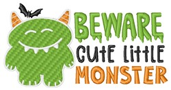 Beware Monster embroidery design
