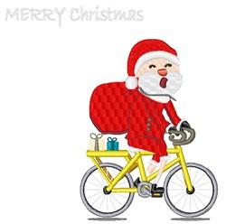 Santa On Bike embroidery design