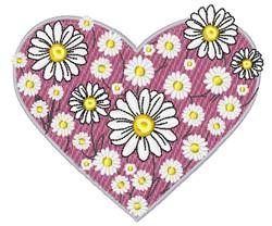 Daisy Heart embroidery design