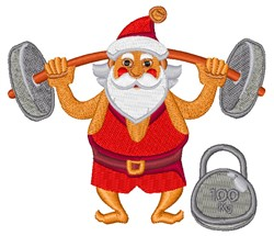 Weightlifter Santa embroidery design