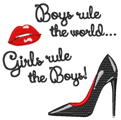 Girls Rule The Boys embroidery design