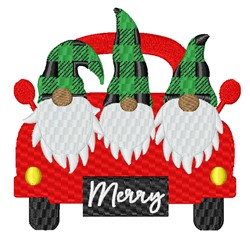 Holiday Truck & Gnomes embroidery design