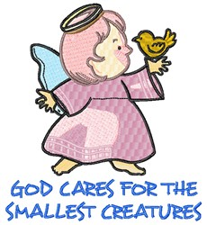 God Loves Small Creatures embroidery design
