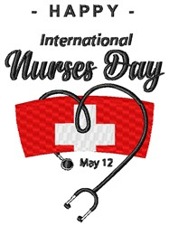 Happy International Nurses Day embroidery design