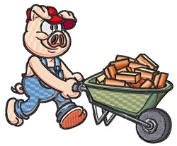 Brick Laying Pig embroidery design