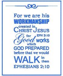 Ephesians 2:10 embroidery design