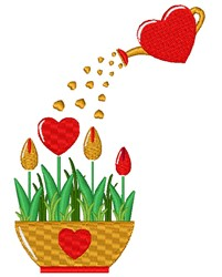 Potted Valentines Day Tulips embroidery design