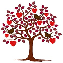 Valentines Tree With Birds embroidery design