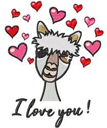 I Love You Llama embroidery design