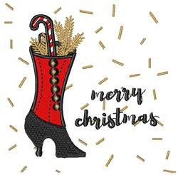 Merry Christmas High Heel Boot embroidery design