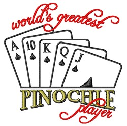 Worlds Greatest Pinochle Player embroidery design