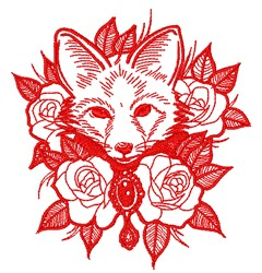 Fox In Flowers embroidery design