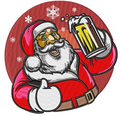 Jolly Drinking Santa embroidery design