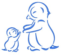 Penguins Outline embroidery design