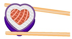 Heart Shaped Sushi embroidery design