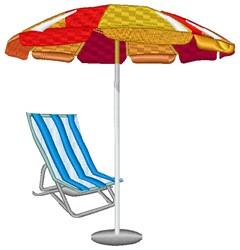 Beach Chair & Umbrella embroidery design