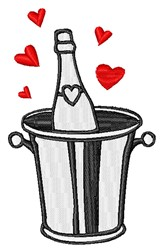 Valentines Day Champagne Bucket embroidery design