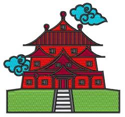 Eastern Pagoda embroidery design