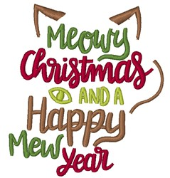 Meowy Christmas Happy Mew Year embroidery design