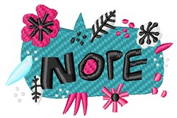 Decorative Nope Sign embroidery design