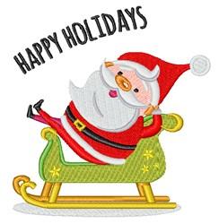 Happy Holidays Kawaii Santa embroidery design