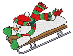 Sledding Snowman embroidery design