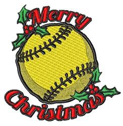 Merry Christmas Softball embroidery design