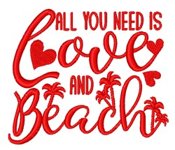 Love & Beach embroidery design